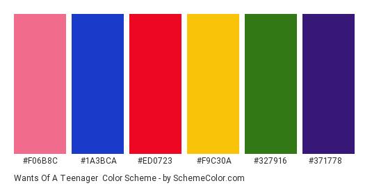 Wants of a Teenager - Color scheme palette thumbnail - #f06b8c #1a3bca #ed0723 #f9c30a #327916 #371778