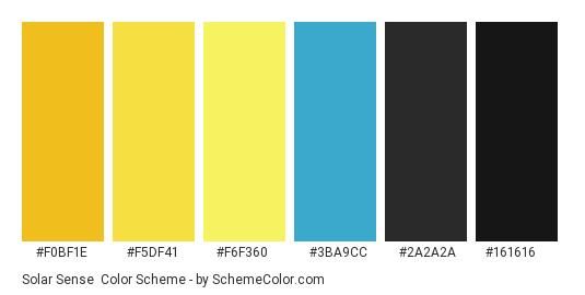 Solar Sense - Color scheme palette thumbnail - #f0bf1e #f5df41 #f6f360 #3ba9cc #2a2a2a #161616