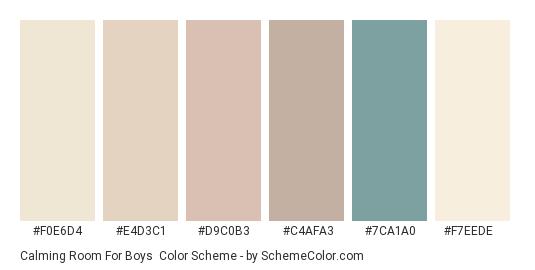 Calming Room for Boys - Color scheme palette thumbnail - #f0e6d4 #e4d3c1 #d9c0b3 #c4afa3 #7ca1a0 #f7eede