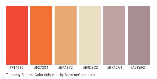 Tuscany Sunset - Color scheme palette thumbnail - #f14936 #f27234 #e7a872 #e9dec2 #bfa2a4 #a78e92