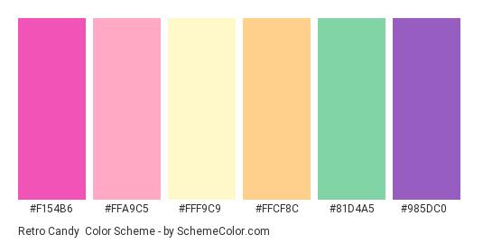 Retro Candy - Color scheme palette thumbnail - #f154b6 #ffa9c5 #fff9c9 #ffcf8c #81d4a5 #985dc0