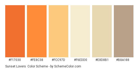 Sunset Lovers - Color scheme palette thumbnail - #f17030 #fe8c38 #fcc97d #f6edd0 #e8d8b1 #b8a188