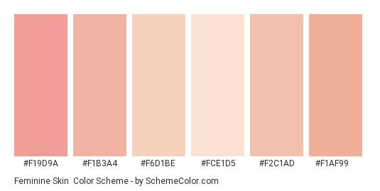 Feminine Skin - Color scheme palette thumbnail - #f19d9a #f1b3a4 #f6d1be #fce1d5 #f2c1ad #f1af99