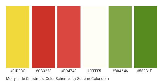 Merry Little Christmas - Color scheme palette thumbnail - #f1d93c #cc3228 #d94740 #fffef5 #80a646 #588b1f