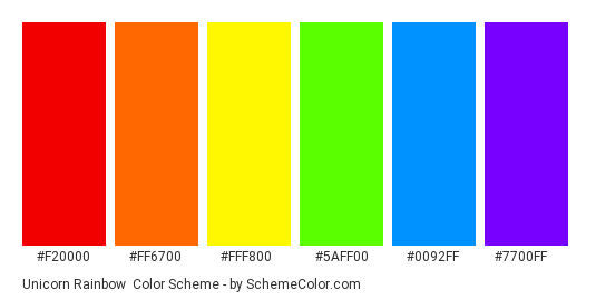 Unicorn Rainbow - Color scheme palette thumbnail - #f20000 #ff6700 #fff800 #5aff00 #0092ff #7700ff