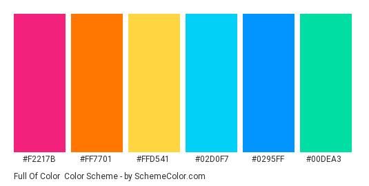 Full of Color - Color scheme palette thumbnail - #f2217b #FF7701 #FFD541 #02D0F7 #0295FF #00DEA3
