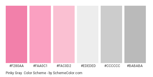Pinky Gray - Color scheme palette thumbnail - #f280aa #faa0c1 #fac0d2 #ededed #cccccc #bababa