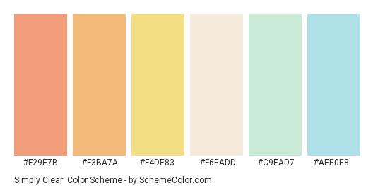 Simply Clear - Color scheme palette thumbnail - #f29e7b #f3ba7a #f4de83 #f6eadd #c9ead7 #aee0e8