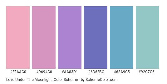 Love Under the Moonlight - Color scheme palette thumbnail - #f2aac0 #d694c0 #aa83d1 #6d6fbc #68a9c5 #92c7c6