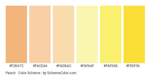 Peach & Yellow - Color scheme palette thumbnail - #f2b67c #facea6 #fadbac #faf6af #faf06b #f9df36