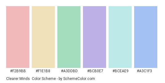 Clearer Minds - Color scheme palette thumbnail - #f2b9bb #f1e1b8 #a3ddbd #bcb0e7 #bceae9 #a3c1f3