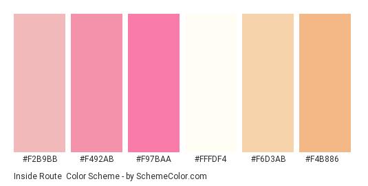 Inside Route - Color scheme palette thumbnail - #f2b9bb #f492ab #f97baa #fffdf4 #f6d3ab #f4b886