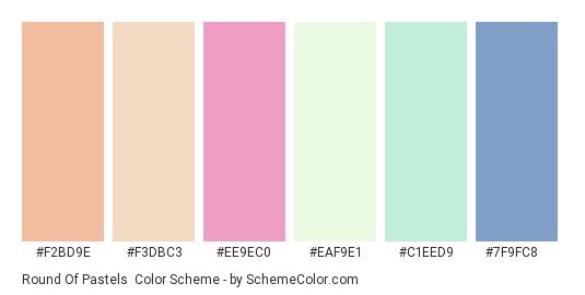 Round of Pastels - Color scheme palette thumbnail - #f2bd9e #f3dbc3 #ee9ec0 #eaf9e1 #c1eed9 #7f9fc8