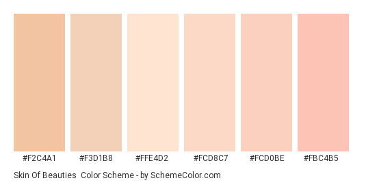 Skin of Beauties - Color scheme palette thumbnail - #f2c4a1 #f3d1b8 #ffe4d2 #fcd8c7 #fcd0be #fbc4b5