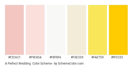 A Perfect Wedding - Color scheme palette thumbnail - #f2c6c1 #f9e0da #f8f8f6 #f3ecd9 #fae759 #ffcc01