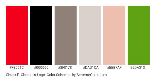 Chuck E. Cheese's Logo - Color scheme palette thumbnail - #f3001c #000000 #8f8178 #dad1ca #eebfaf #5da313
