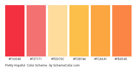 Pretty Hopeful - Color scheme palette thumbnail - #f33040 #f37171 #fedc9c #fcbf4a #fca641 #fb8545