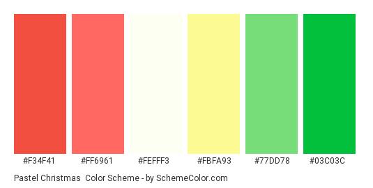 Pastel Christmas - Color scheme palette thumbnail - #f34f41 #ff6961 #fefff3 #fbfa93 #77dd78 #03c03c