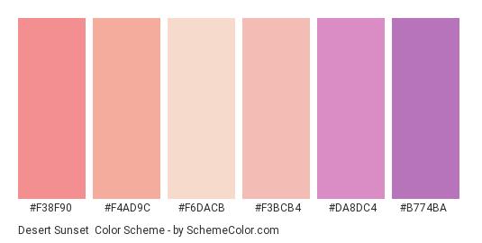 Desert Sunset - Color scheme palette thumbnail - #f38f90 #f4ad9c #f6dacb #f3bcb4 #da8dc4 #b774ba