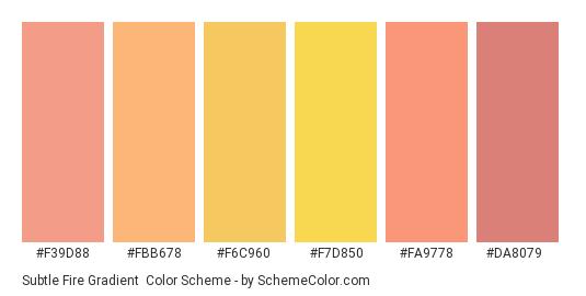 Subtle Fire Gradient - Color scheme palette thumbnail - #f39d88 #fbb678 #f6c960 #f7d850 #fa9778 #da8079