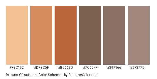 Browns of Autumn - Color scheme palette thumbnail - #f3c192 #d78c5f #b9663d #7c604f #897166 #9f877d