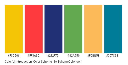 Colorful Introduction - Color scheme palette thumbnail - #f3c506 #ff3a3c #212f75 #62a950 #fcbb58 #007c98