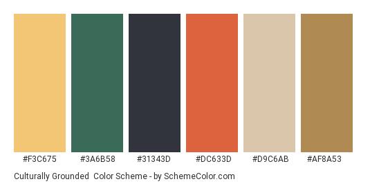 Culturally Grounded - Color scheme palette thumbnail - #f3c675 #3a6b58 #31343d #dc633d #d9c6ab #af8a53