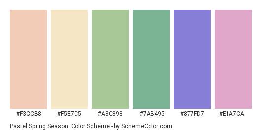 Pastel Spring Season - Color scheme palette thumbnail - #f3ccb8 #f5e7c5 #a8c898 #7ab495 #877fd7 #e1a7ca
