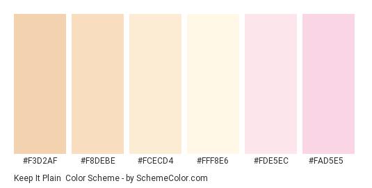 Keep it Plain - Color scheme palette thumbnail - #f3d2af #f8debe #fcecd4 #fff8e6 #fde5ec #fad5e5
