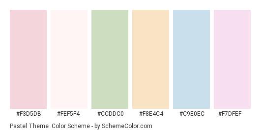 Pastel Theme - Color scheme palette thumbnail - #f3d5db #fef5f4 #ccddc0 #f8e4c4 #c9e0ec #f7dfef