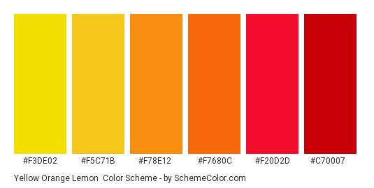 Yellow Orange Lemon - Color scheme palette thumbnail - #f3de02 #f5c71b #f78e12 #f7680c #f20d2d #c70007