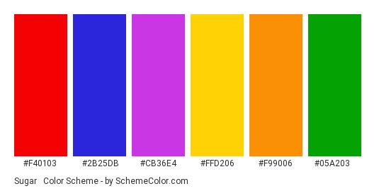 Sugar & Spice - Color scheme palette thumbnail - #f40103 #2b25db #cb36e4 #ffd206 #f99006 #05a203