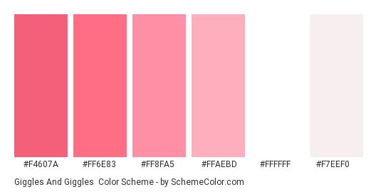 Giggles and Giggles - Color scheme palette thumbnail - #f4607a #ff6e83 #ff8fa5 #ffaebd #ffffff #f7eef0