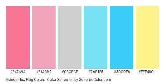 Genderflux Flag Colors - Color scheme palette thumbnail - #f47694 #f1a3b9 #cecece #7ae1f5 #3dcdfa #fef48c