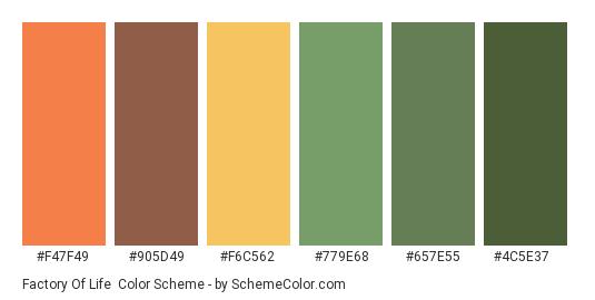 Factory of Life - Color scheme palette thumbnail - #f47f49 #905d49 #f6c562 #779e68 #657e55 #4c5e37