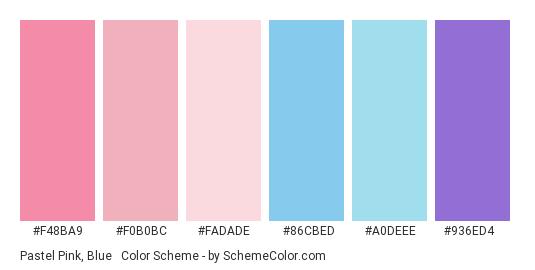 Pastel Pink, Blue & Purple - Color scheme palette thumbnail - #f48ba9 #f0b0bc #fadade #86cbed #a0deee #936ed4