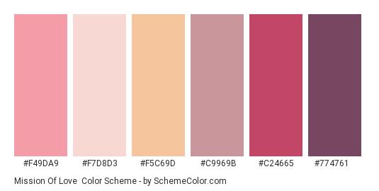 Mission of Love - Color scheme palette thumbnail - #f49da9 #f7d8d3 #f5c69d #c9969b #c24665 #774761