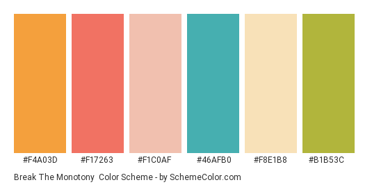 Break The Monotony - Color scheme palette thumbnail - #f4a03d #f17263 #f1c0af #46afb0 #f8e1b8 #b1b53c