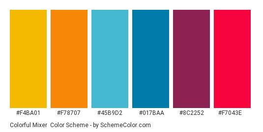 Colorful Mixer - Color scheme palette thumbnail - #f4ba01 #f78707 #45b9d2 #017baa #8c2252 #f7043e