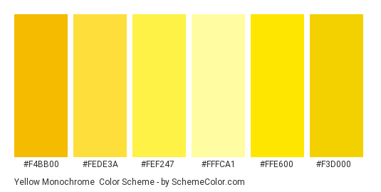 Yellow Monochrome - Color scheme palette thumbnail - #f4bb00 #fede3a #fef247 #fffca1 #ffe600 #f3d000
