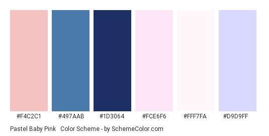 Pastel Baby Pink & Lavender - Color scheme palette thumbnail - #f4c2c1 #497aab #1d3064 #fce6f6 #fff7fa #d9d9ff