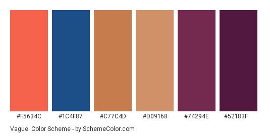 Vague - Color scheme palette thumbnail - #f5634c #1c4f87 #c77c4d #d09168 #74294e #52183f