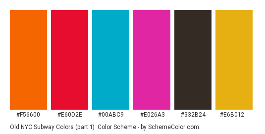 Old NYC subway colors (part 1) - Color scheme palette thumbnail - #f56600 #e60d2e #00abc9 #e026a3 #332b24 #e6b012