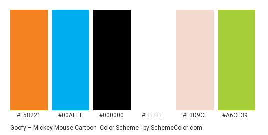 Goofy – Mickey Mouse Cartoon - Color scheme palette thumbnail - #f58221 #00aeef #000000 #ffffff #f3d9ce #a6ce39
