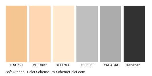 Soft Orange & Charcoal - Color scheme palette thumbnail - #f5c691 #fed8b2 #fee9ce #bfbfbf #acacac #323232