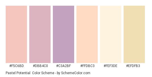 Pastel Potential - Color scheme palette thumbnail - #f5c6bd #dbb4c0 #c3a2bf #ffdbc3 #fef3de #efdfb3