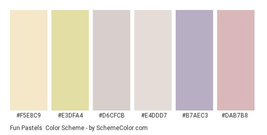 Fun Pastels - Color scheme palette thumbnail - #f5e8c9 #e3dfa4 #d6cfcb #e4ddd7 #b7aec3 #dab7b8
