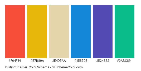 Distinct Barrier - Color scheme palette thumbnail - #f64f39 #e7b80a #e4d5aa #1587d8 #524bb3 #0abc89