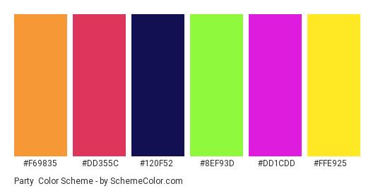 Party - Color scheme palette thumbnail - #f69835 #dd355c #120f52 #8ef93d #dd1cdd #ffe925