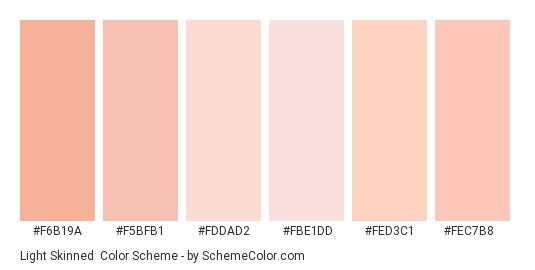 Light Skinned - Color scheme palette thumbnail - #f6b19a #f5bfb1 #fddad2 #fbe1dd #fed3c1 #fec7b8
